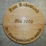 Holztafel mit Lasergravur - Frank Klingberg - Gravieranstalt Klingberg in München